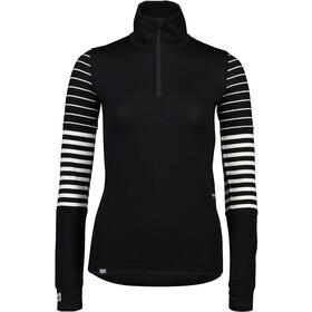 Mons Royale Cornice Half Zip Baselayer Dame black/thick stripe/thin stripe